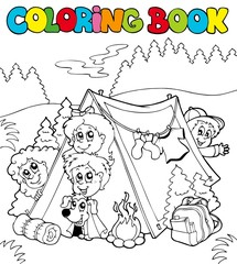 Coloring book with camping kids