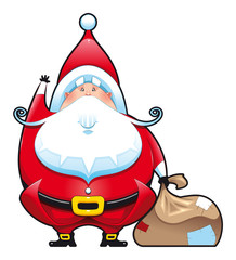 Santa Claus with bag. Funny vector isolated character