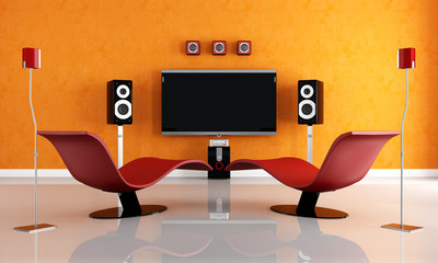 modern home theater with two fashion armchair
