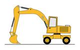 Hydraulic shovel vector poster