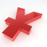Red Shiny Yen Symbol