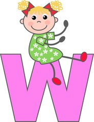 a girl with letter W