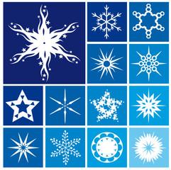Set di 13 stelle stilizzate