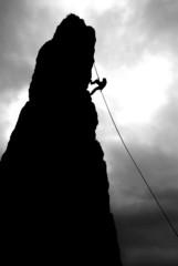 Discesa in corda doppia  prima della tempesta