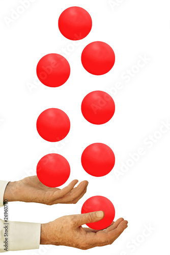 Businessman juggling too many balls in the air - on white