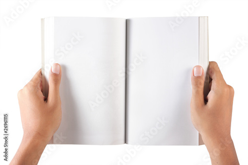 gesture of hand open the blank book