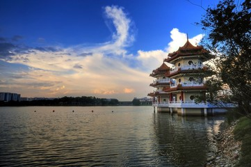 Twin Pagodas beside a lake