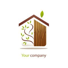 logo entreprise, maison bois