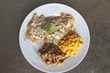 lemon deep fried snapper fish dressing with corn and red rice