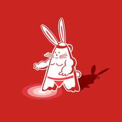 Mighty sumo rabbit warrior