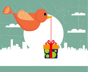 bird with gift box