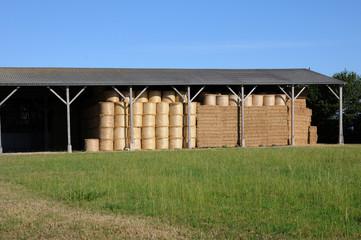 rouleaux de paille dans un hangar