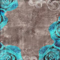 Vintage Floral Grunge Scrapbook Background with rose
