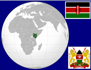Kenya globe map locator world flsg coat