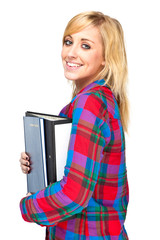 Attractive College Student Holding Folders