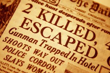 Closeup of a daily newspaper headline