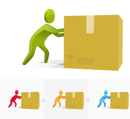 3d stick figure pushing hard a big cartoon box