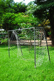 soccer goal on fresh green grass field