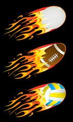 Sport balls in fire
