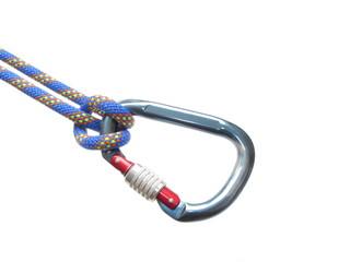 Schraubkarabiner am blauen Seil