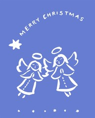 Christmas angels - greeting card