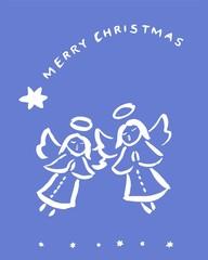 Christmas angels - greeting card