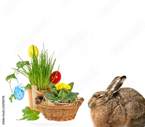 easter hare and easter decorations