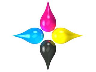 3D CMYK Ink Drops