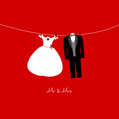 Hanging Bridal Couple Mr. & Mrs. Red