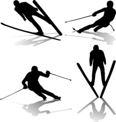 skiers silhouette collection