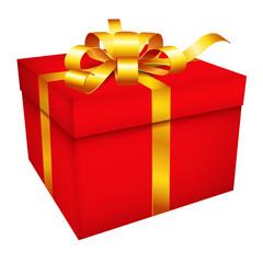 Geschenkpaket mit goldener Schleife