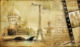 Fototapeta podróż - Eiffel - Retro