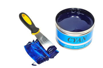 Cyan Offset Printing Ink And A Ink Knife