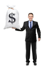 Full length portrait  of a man holding a money bag