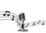 classic microphone with music notes on background