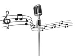 classic standing microphone with musicnotes on background