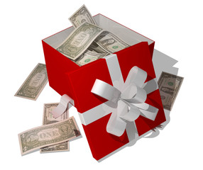 opened giftbox filled with dollars