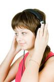 girl teenager in the headphones