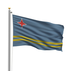 Flag of Aruba waving in the wind over white background