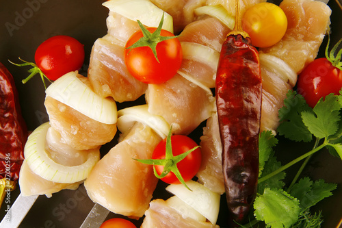 fresh raw chicken kebabs
