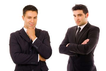 Two young business men portrait on white background