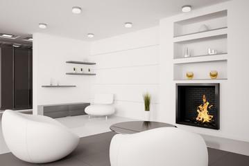 Wohnzimmer mit Kamin Interior 3d render