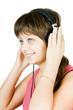 beautiful girl in headphones listens to music