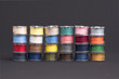 Spools of yarn stacked