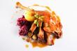 Leinwandbild Motiv gänsebraten,knödel,rotkraut/roast goose