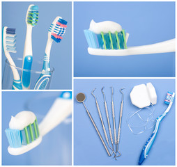 Dental tools, floss, and toothbrush
