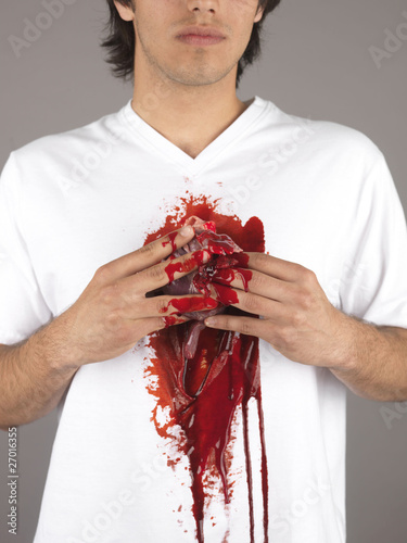 Young Man Holding Organs. Model Released