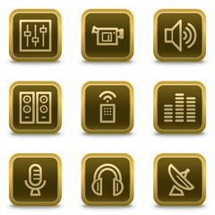 Media web icons, square brown buttons