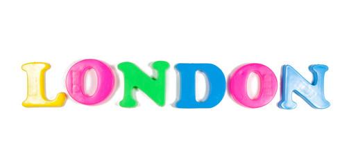 london written in fridge magnets