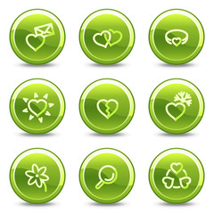 Love icons, green circle glossy buttons